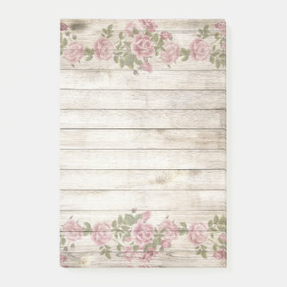 Rustic Wood and Flowers Post-it Notes
