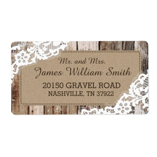Rustic Wood and Lace Country Western Wedding Label Shipping Label