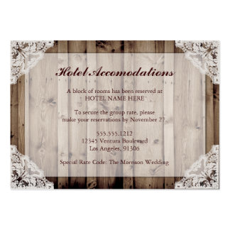 Rustic Wood and Lace Hotel Accommodations Business Cards