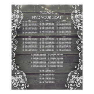 Rustic Wood and Lace Lights Wedding Seating Chart Poster
