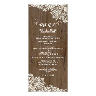 Rustic Wood and Lace Menu