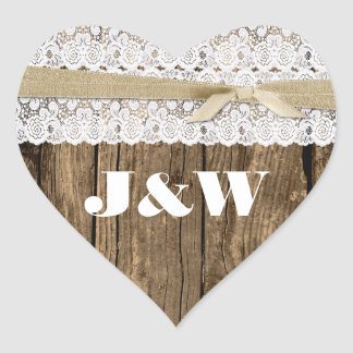 Rustic Wood and Lace Wedding Envelope Seal Heart Sticker