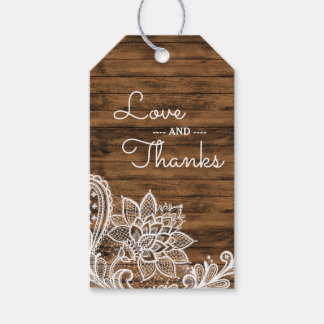 Rustic Wood and Lace | Wedding Favor Thank You Gift Tags