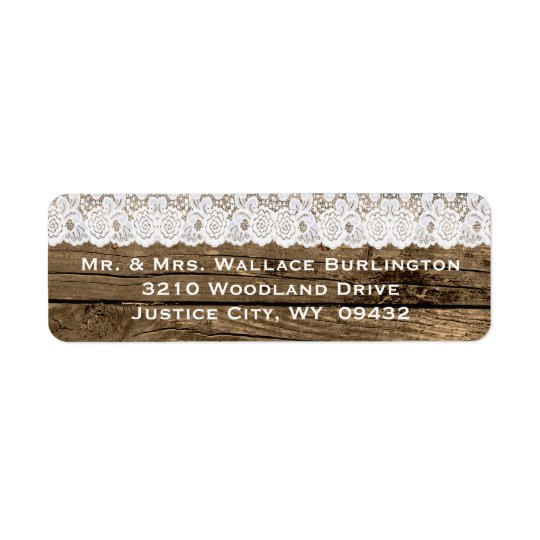 Rustic Wood and Lace Wedding Return Address