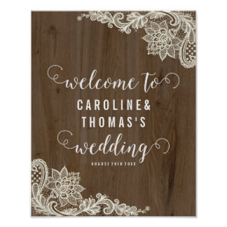 Rustic Wood and Lace Welcome Sign