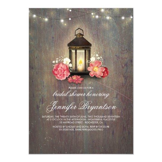Rustic Wood and Lantern Barn Bridal Shower Card