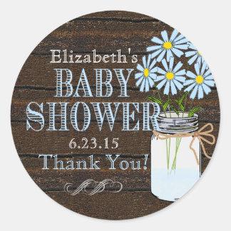 Rustic Wood and Mason Jar- Baby Shower Round Sticker