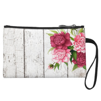 Rustic Wood and Peonies Mini Wristlet Bag