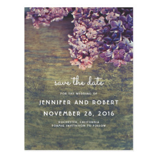 Rustic Wood and Purple Lilacs Floral Save the Date Postcard
