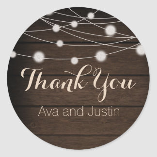 Rustic Wood and String Light Thank You Seal Round Sticker