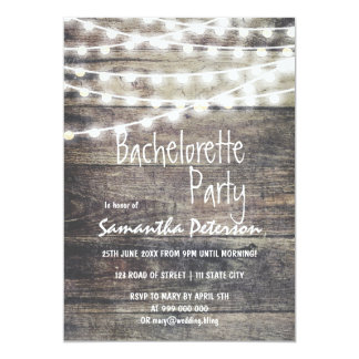 """Rustic wood and string lights bachelorette party 5"""" x 7"""" invitation card"""