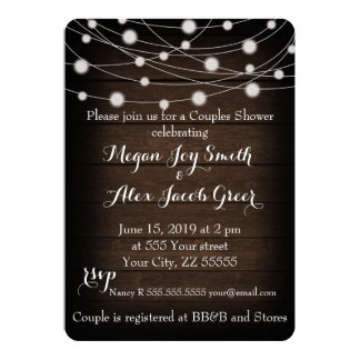 Rustic Wood and String Lights Couples Shower Card