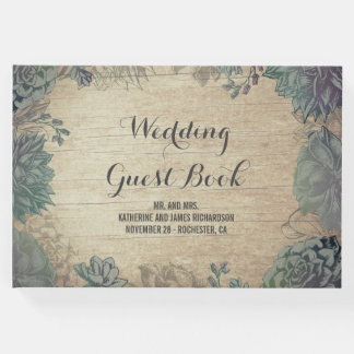 Rustic Wood and Succulents Barn Wedding Guest Book