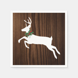 Rustic Wood and White Deer Christmas Paper Napkins