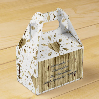 Rustic wood and white lace heart country wedding favor box