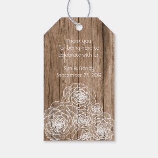 Rustic Wood and White Succulents Gift Favor Tags