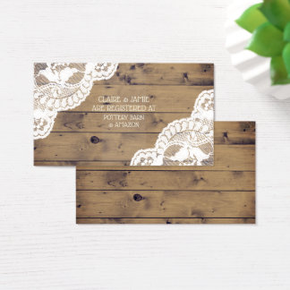 Rustic Wood Antique Lace Wedding Registry Insert