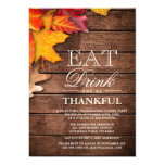 """Rustic Wood Autumn Maple Thanksgiving Dinner Party 5"""" X 7"""" Invitation Card"""