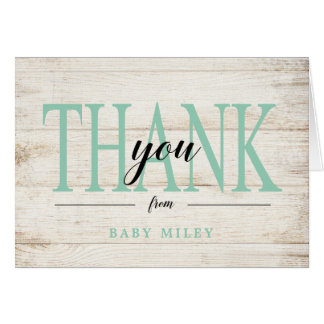 Rustic Wood Baby Shower, Mint Green Card