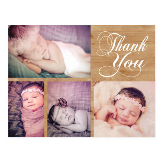 Rustic Wood Baby Thank You Photo Post Card