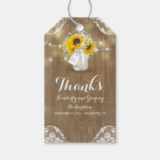 Rustic Wood Baby's Breath and Sunflowers Mason Jar Pack Of Gift Tags