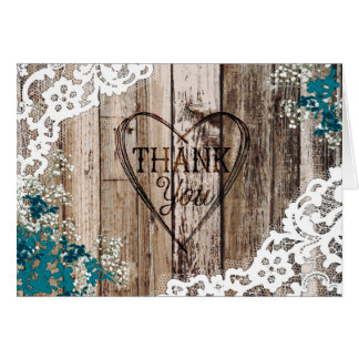 Rustic Wood Baby's Breath Lace Thank You Card