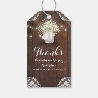 Rustic Wood Baby's Breath Mason Jar Barn Wedding Gift Tags