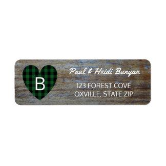 Rustic Wood Barn Wedding Label | Green Plaid Heart Return Address Label