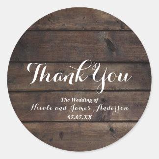 Rustic Wood Barn Wedding Party Elegant Favor Round Sticker