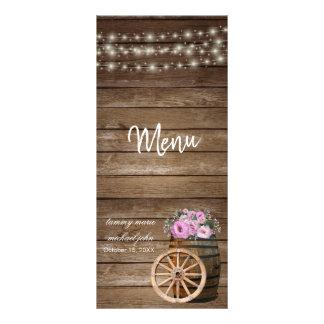 Rustic Wood Barrel and Pink Floral Wedding- Menu