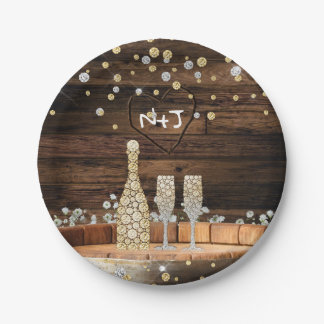 Rustic Wood Barrel Lights Champagne Modern Party Paper Plate