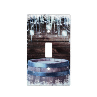 Rustic Wood Barrel & Lights Winter Barn Light Switch Cover