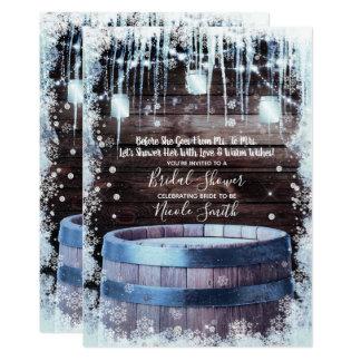 Rustic Wood Barrel & Lights Winter Bridal Shower Card