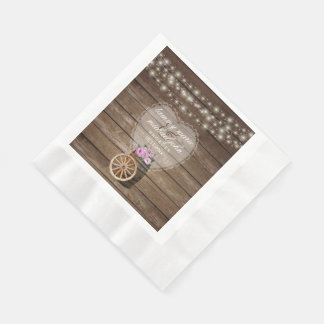 Rustic Wood Barrel Wedding and Pink Flowers Paper Napkin