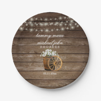 Rustic Wood Barrel Wedding with White Flowers 2 Paper Plate