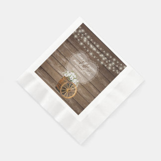 Rustic Wood Barrel Wedding with White Flowers Napkin