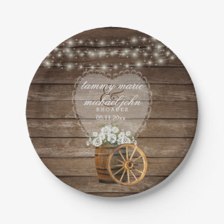 Rustic Wood Barrel Wedding with White Flowers Paper Plate