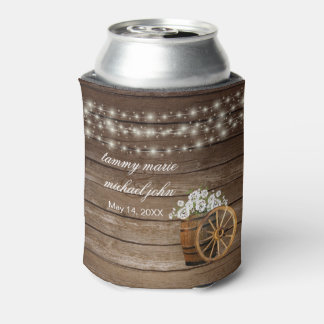 Rustic Wood Barrel with White  Flowers Can Cooler