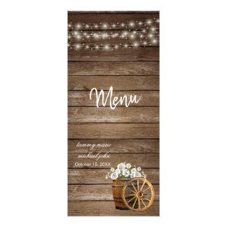 Rustic Wood Barrel with White Flowers - Menu