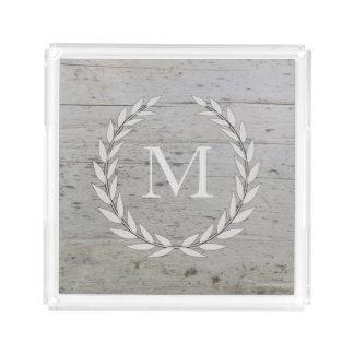 Rustic wood beach driftwood olive wreath monogram acrylic tray
