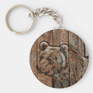 Rustic wood bear basic round button keychain