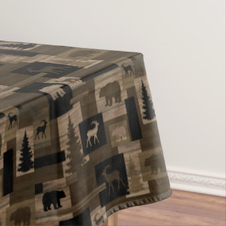 Rustic wood bear moose pattern cotton tablecloth