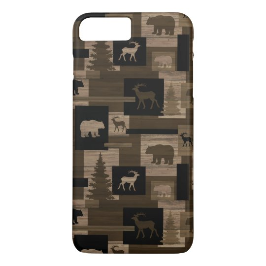 Rustic wood bear moose pattern iPhone 7 case