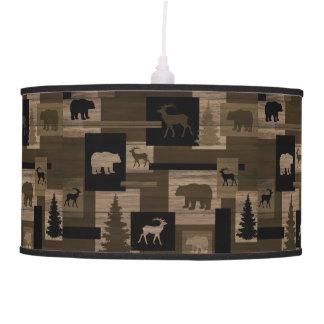Rustic wood bear moose pattern pendant lamp