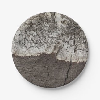 Rustic Wood Birch Bark Country Paper Plate