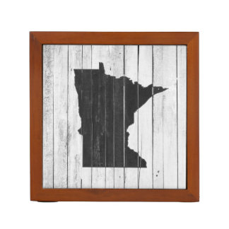 Rustic Wood Black and White Minnesota State Desk Organizer