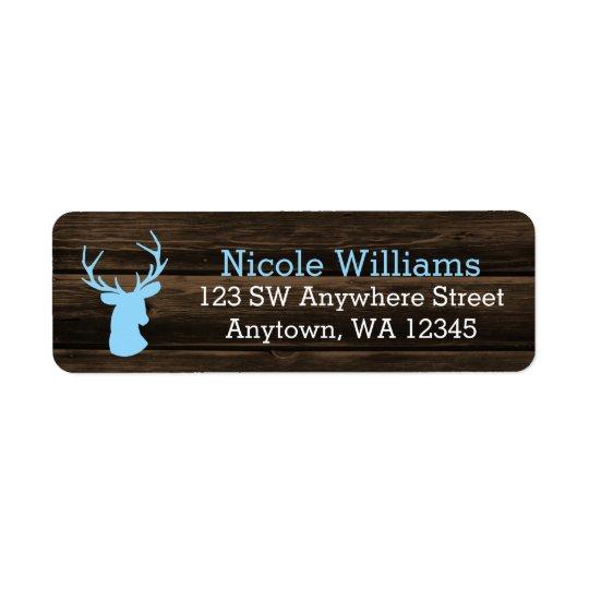 Rustic Wood Blue Buck Deer Return Address Label