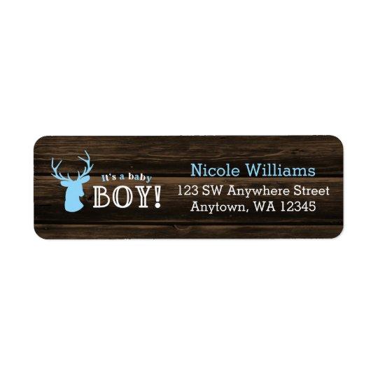 Rustic Wood Blue Deer Boy Baby Shower