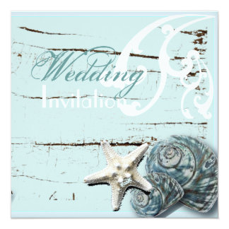 Rustic Wood blue Seashell Coastal Beach Wedding Card
