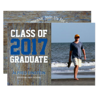 Rustic Wood Blue White | Photo Graduation Party Card